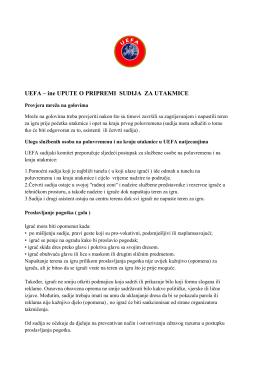 UEFA – ine UPUTE O PRIPREMI SUDIJA ZA UTAKMICE
