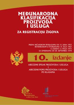 Ničanska Klasifikacija - Zavod za intelektualnu svojinu Crne Gore