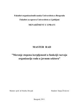 MASTER RAD - izgorelost / burnout