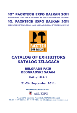 10th PACKTECH EXPO BALKAN 2011 CATALOG OF EXHIBITORS