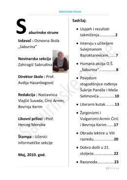 """aburinske strune Izdavač : Osnovna škola """"Saburina"""