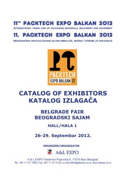 11th PACKTECH EXPO BALKAN 2012 CATALOG OF EXHIBITORS