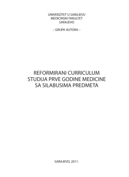 REFORMIRANI CURRICULUM STUDIJA PRVE GODINE