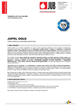jupol gold - tehnički list