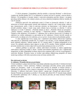 """Program """"Unapređenje zdravlja učenika u osnovnim školama 2012"""""""