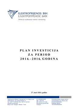 Plan investicija za period 2014.-2016. godina
