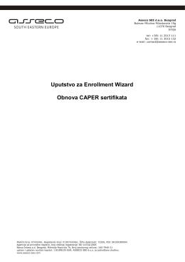 Uputstvo za instalaciju i korišćenje Cert Enrollment Wizard-a