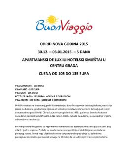 OHRID NOVA GODINA 2015 30.12. – 03.01.2015. – 5 DANA