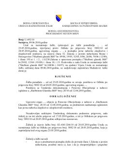 U-692/10 Sarajevo, 09.06.2010.godine Ured za razmatranje žalbi