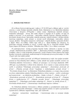 Doc.dr.sc. Ekrem Nezirević Tehnički fakultet Bihać 1. BIOGRAFSKI