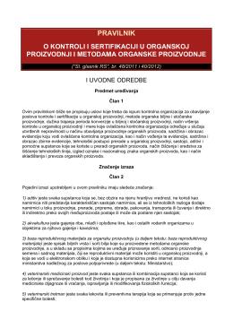 Pravilnik o kontroli i sertifikaciji u organskoj proizvodnji i metodama