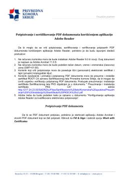 Potpisivanje i sertifikovanje PDF dokumenata korišćenjem aplikacije
