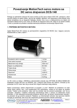 Povezivanje MotionTech servo motora sa DC servo