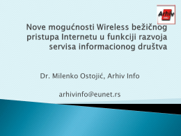 """Nove mogucnosti Wifi pristupa Internetu"", Prof. Dr"