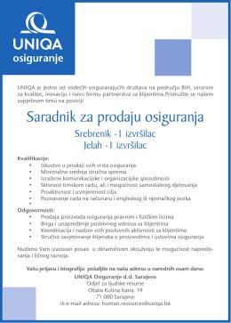 Saradnik za prodaju osiguranja - regije Srebrenik i Jelah