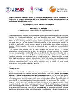 Poziv za prijavljivanje projekata na program Perspektiva za