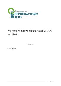 Priprema Windows računara za ESS QCA Sertifikat