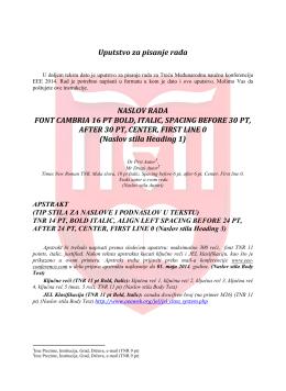 Uputstvo za pisanje rada NASLOV RADA FONT CAMBRIA 16 PT