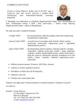 Biografija (CV) - Zaposlimo Srbiju