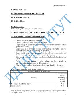 BZR 4.1.020. Akt o proceni rizika molera