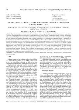 procena anestetičkog efekta ropivakaina u hirurgiji