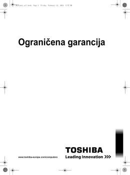 TOSHIBA ograničena garancija za laptop, PC i tablet računare