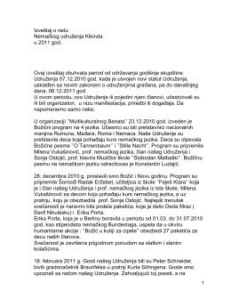 Godišnji izveštaj Nemačkog udruženja Kikinda za 2011. god
