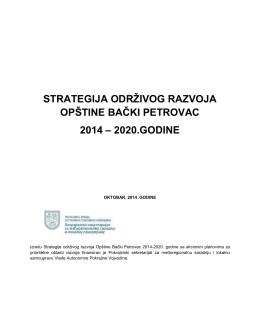 Strategija održivog razvoja Opštine Bački Petrovac 2014