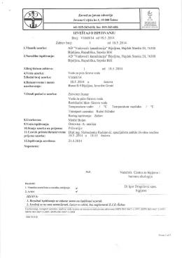 """Mikrobiološka analiza - """"Vodovod i kanalizacija"""" Bijeljina"""