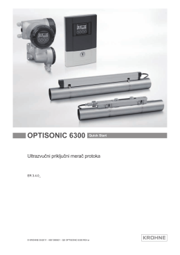 OPTISONIC 6300 Quick Start