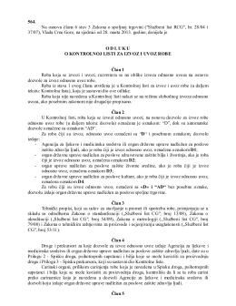 Odluka o kontrolnoj listi za izvoz i uvoz robe