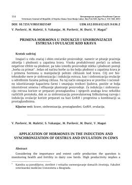 primena hormona u indukciji i sinhronizaciji estrusa i ovulacije kod
