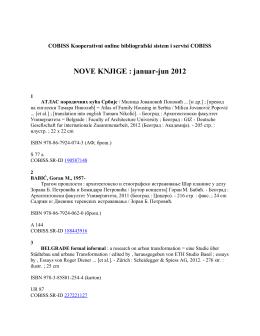NOVE KNJIGE : januar-jun 2012