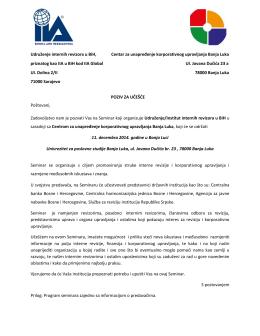 """Seminar """"Interna revizija i korporativno upravljanja"""""""