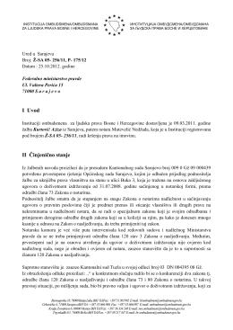 I Uvod II Činjenično stanje - Institucija ombudsmena/ombudsmana