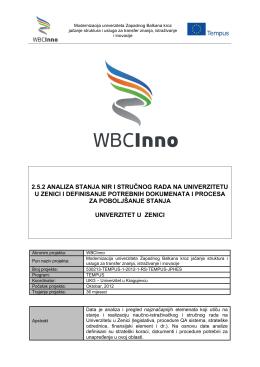 2.5.2 analiza stanja nir i stručnog rada na univerzitetu - WBC-INNO