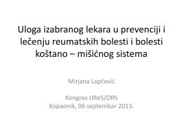Uloga izabranog lekara u prevenciji i lečenju reumatskih