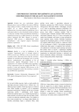5.1. CRM procesi u sistemu menadžmenta kvalitetom