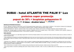 Cenovnik DUBAI 2015 Hotel Atlantis Super promo prolece