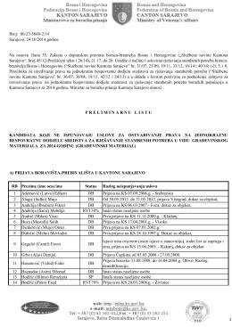 Preliminarne liste 2014 - objava - Ministarstvo za boračka pitanja
