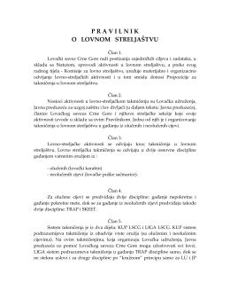 Pravilnik o lovnom streljaštvu u Crnoj Gori