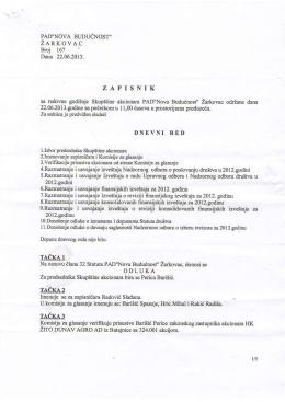 PAD`NOVA BUDUCNOST` ZARKOVAC Brcj 167 Dana 22.06.2013