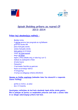 Spisak školskog pribora za razred CP 2013-2014