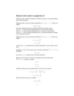 Rijeseni neki zadaci vezani uz kvadratne jednadzbe (poglavlje 2.4)
