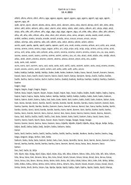 Rječnik za 5 slova 13. 4. 2013 1 afekt, afera, afere, aferi