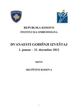 25 Novembar 2013 DVANAESTI GODIŠNJI IZVEŠTAJ 2012