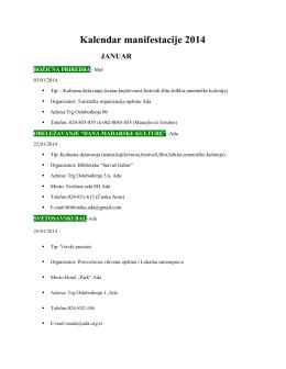 Kalendar manifestacija u 2014