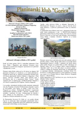 Bilten Gorica 18 - Planinarski Klub GORICA – Podgorica