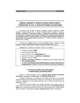 izmena uredbe o korektivnom koeficijentu i obračunu plata u
