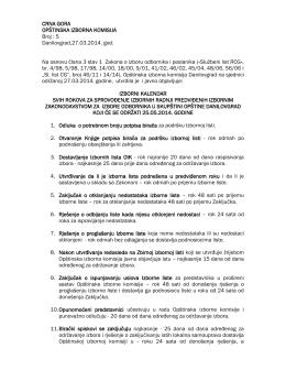 izborni kalendar svih rokova za sprovođenje izbornih